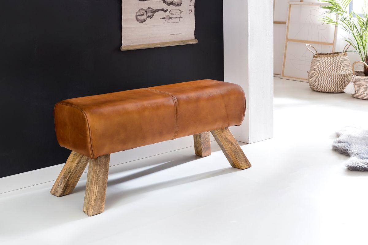 wohnling design turnbock sitzbank echtleder braun 90 x 30 x 43 cm turnhocker bank lederbank. Black Bedroom Furniture Sets. Home Design Ideas