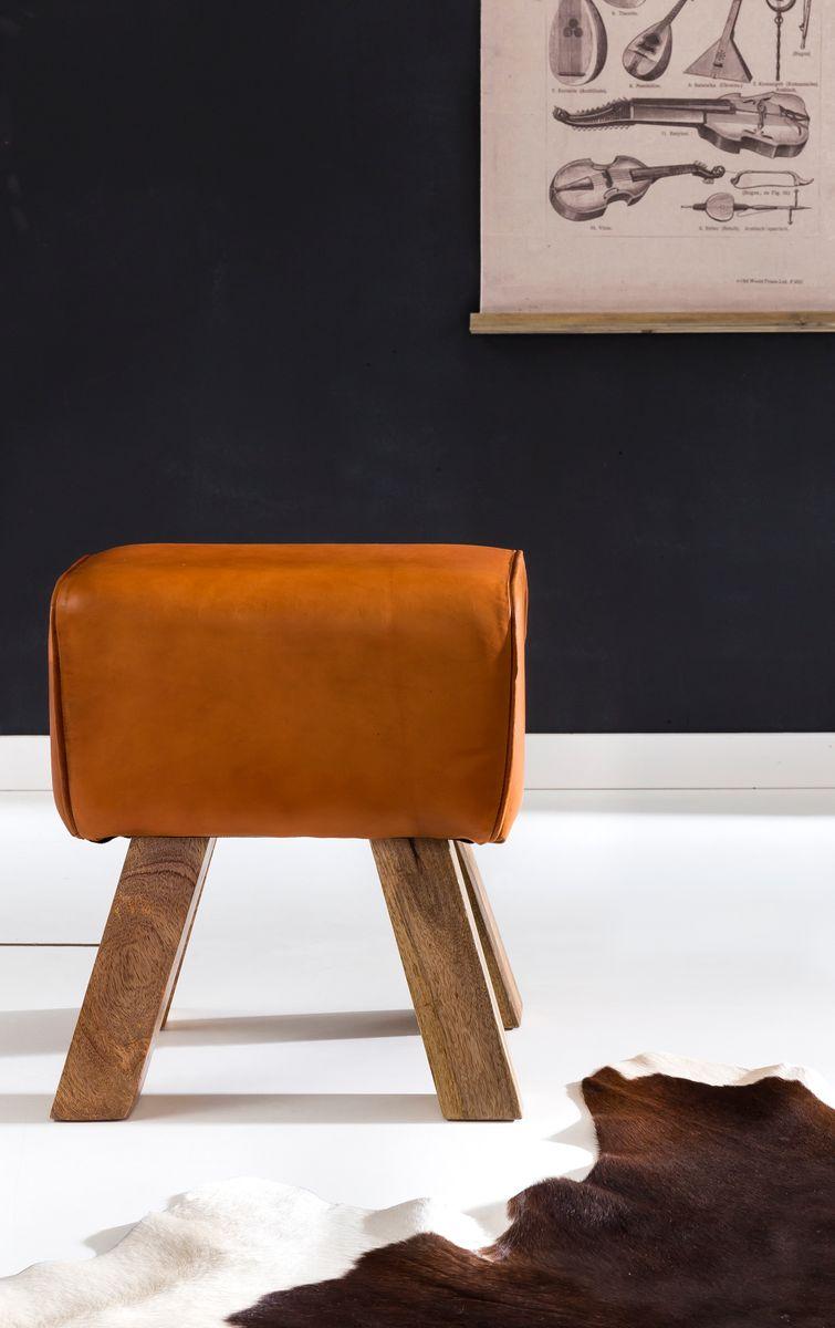 wohnling sitzhocker leder braun massivholz springbock. Black Bedroom Furniture Sets. Home Design Ideas