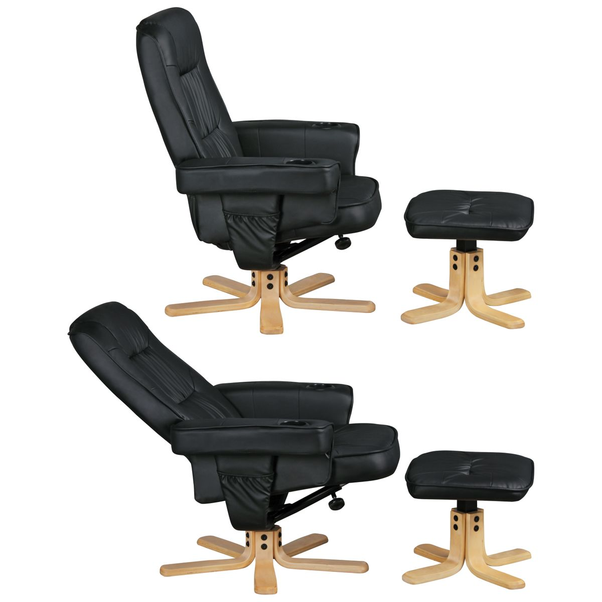 relaxstuhl mit hocker relax duo tv sessel fu ablage fernsehsessel relaxsessel ebay. Black Bedroom Furniture Sets. Home Design Ideas