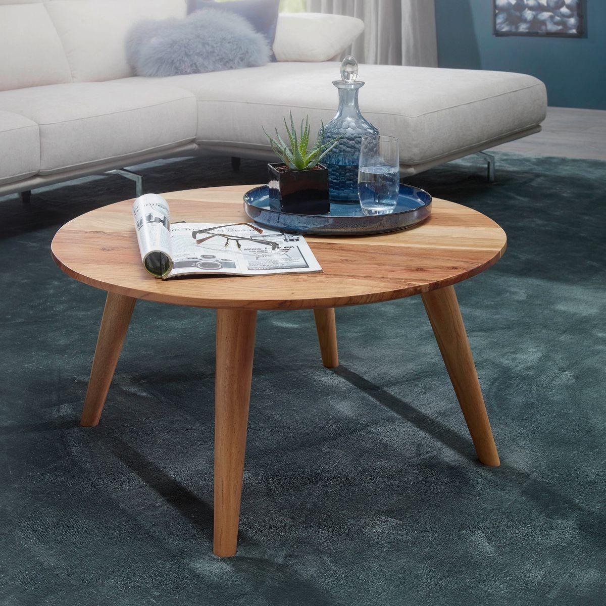 Finebuy Coffee Table Solid Wood Acacia Coffee Table Round 75 X 40 Cm Farmhouse Ebay