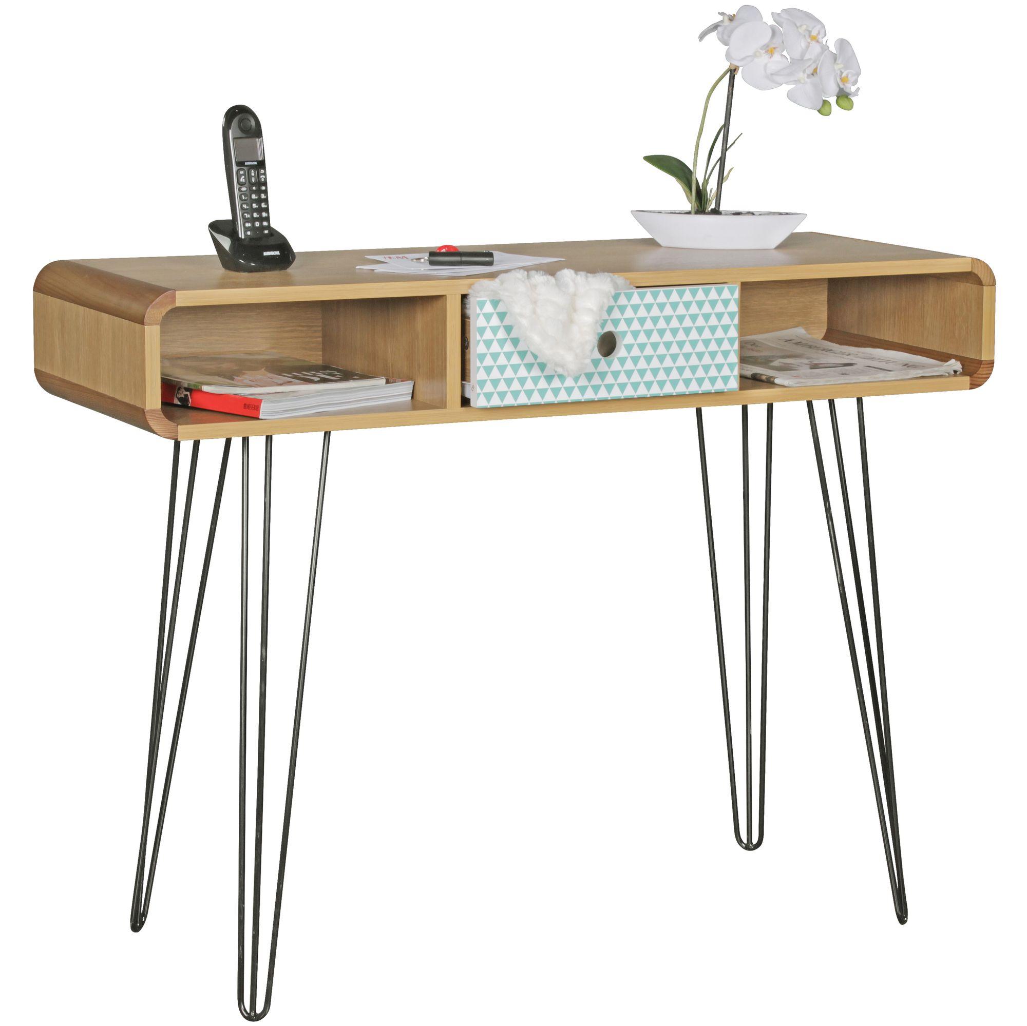 Konsolentisch 100 Cm Holz Metall Schreibtisch Anrichte Retro Muster Schublade