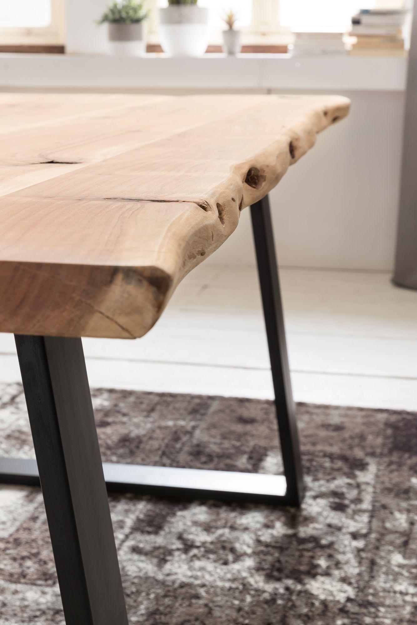 Esszimmertisch Baumkante Massiv Esstisch Tisch 200 x 100 x 76cm Akazie  Baumstamm