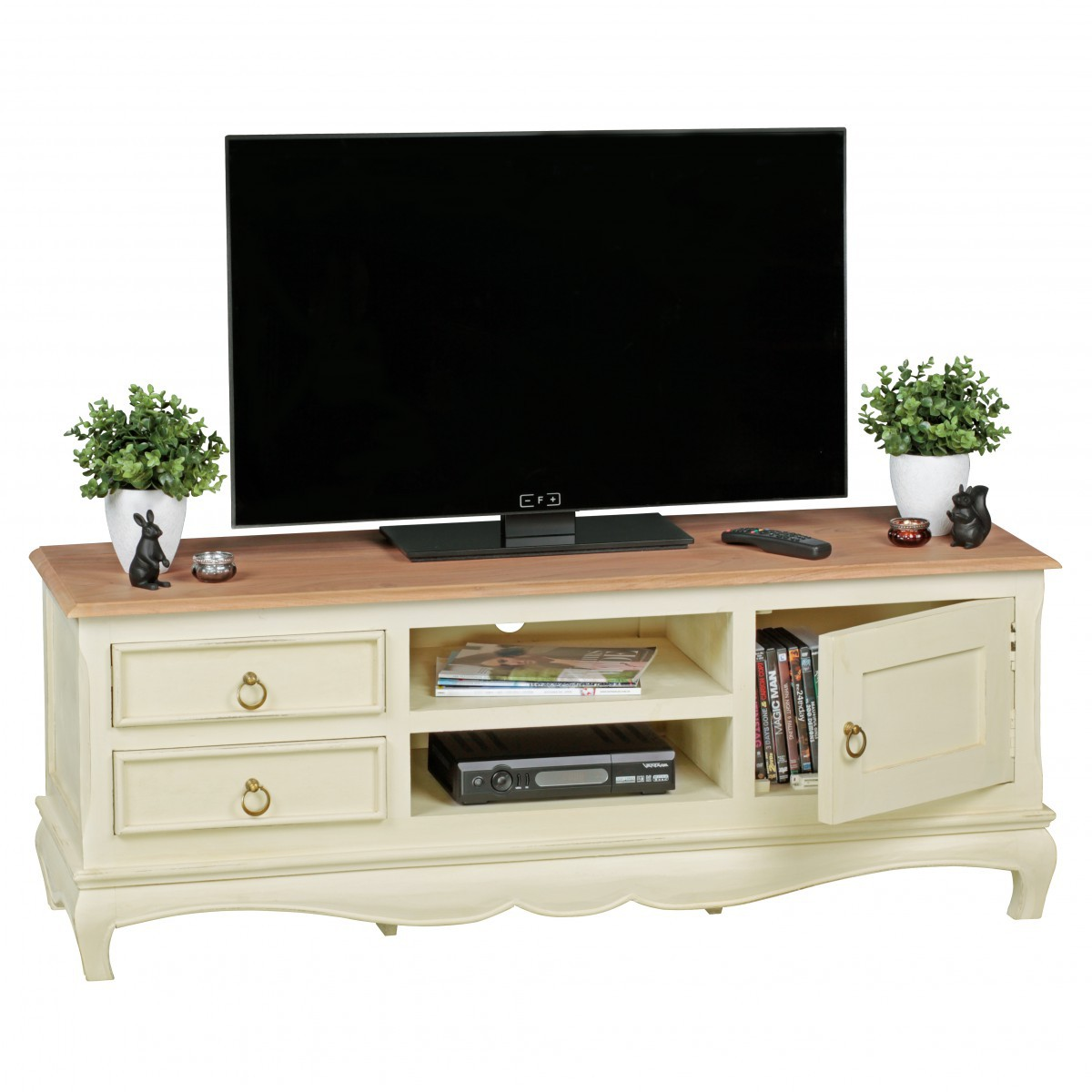 finebuy tv lowboard 135 cm massivholz akazie mango tv hifi regal landhaus fernsehtisch shabby. Black Bedroom Furniture Sets. Home Design Ideas