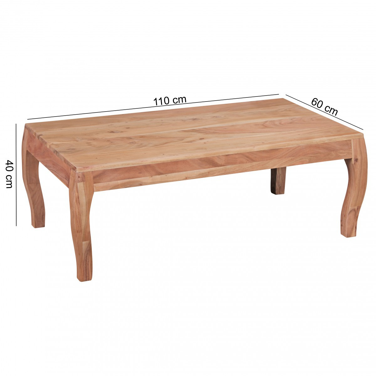 coffee table solid wood acacia living room table side table 110cm wooden natural ebay. Black Bedroom Furniture Sets. Home Design Ideas