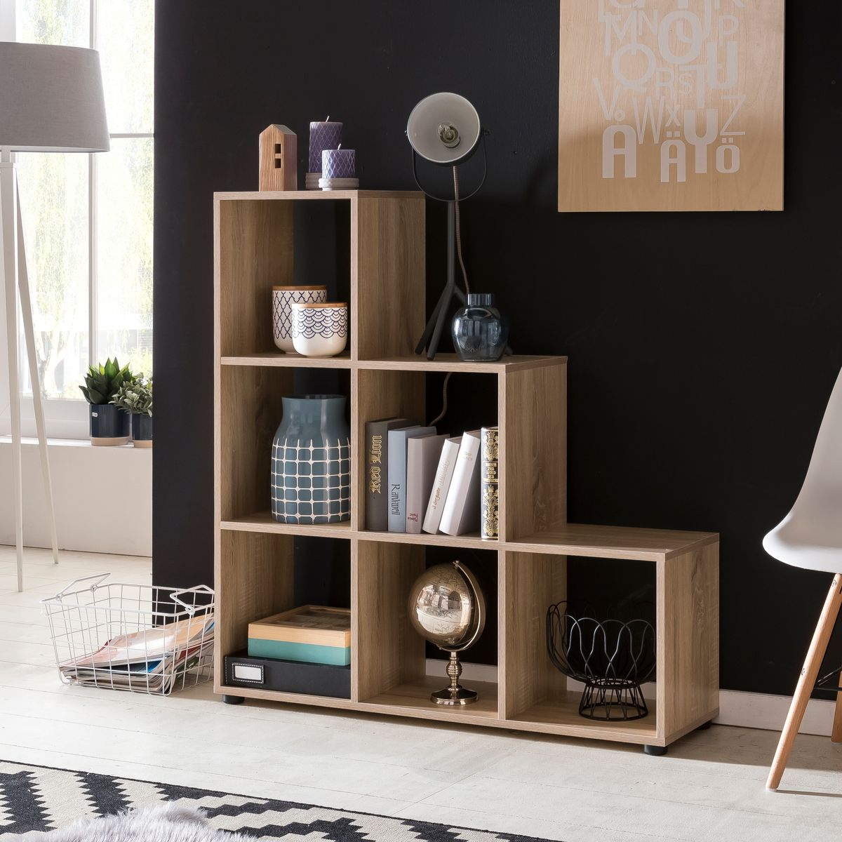 wohnling stufenregal luna holz 6 f cher sonoma standregal 104 5 x 111 x 29 cm design. Black Bedroom Furniture Sets. Home Design Ideas