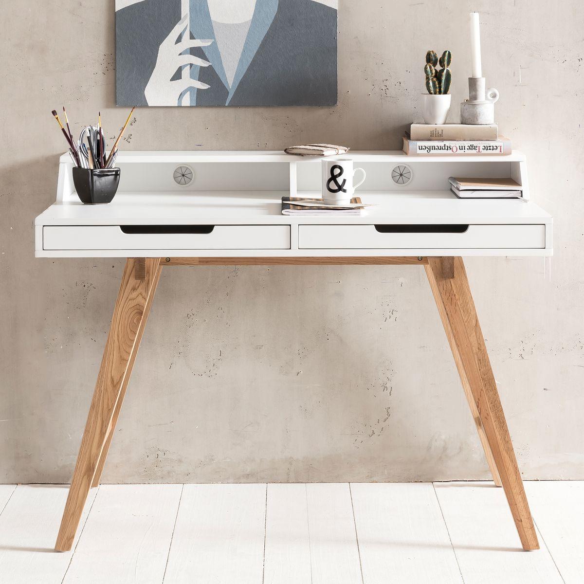 Schreibtisch skandi 110 cm mdf wei arbeitstisch for Schreibtisch x beine