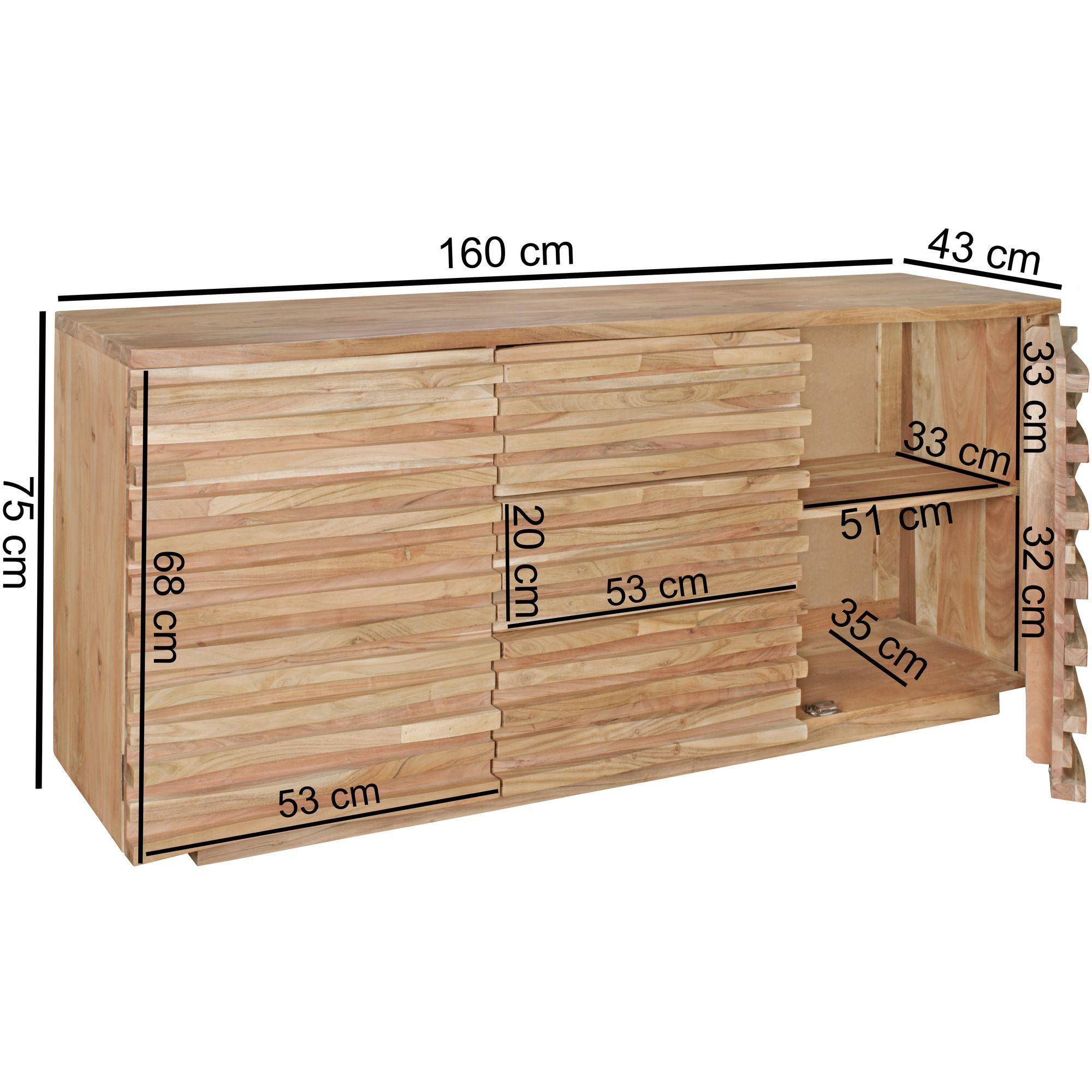 Wohnling Sideboard Massivholz Akazie 160 Cm Anrichte Schublade