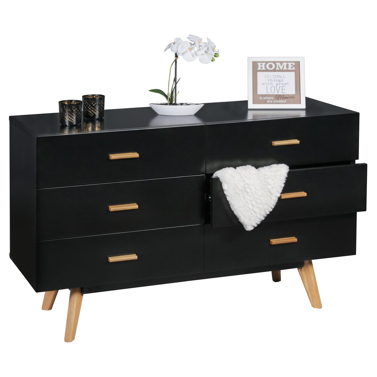 finebuy sideboard scanio mdf holz schwarz mit 6 schubladen. Black Bedroom Furniture Sets. Home Design Ideas