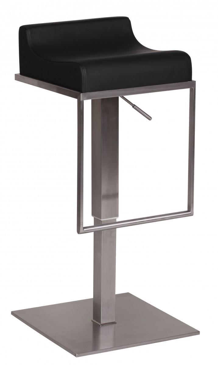 FineBuy Edelstahl Barhocker LYON  Edler Gastro Barstuhl Höhenverstellbar Sitzfläche mit Lehne ...
