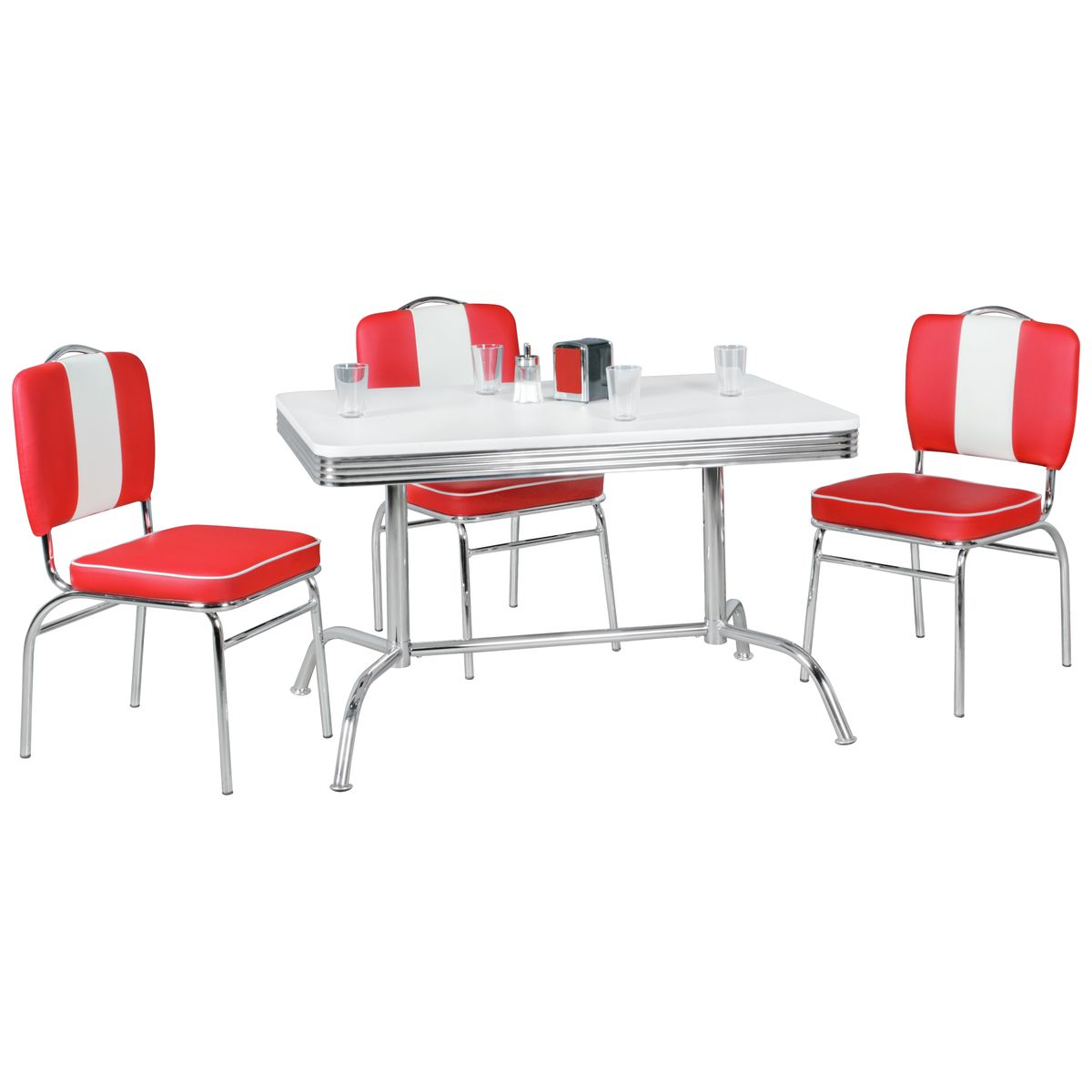 dining table 120x80 cm american diner white alu design retro usa bistro table ebay. Black Bedroom Furniture Sets. Home Design Ideas