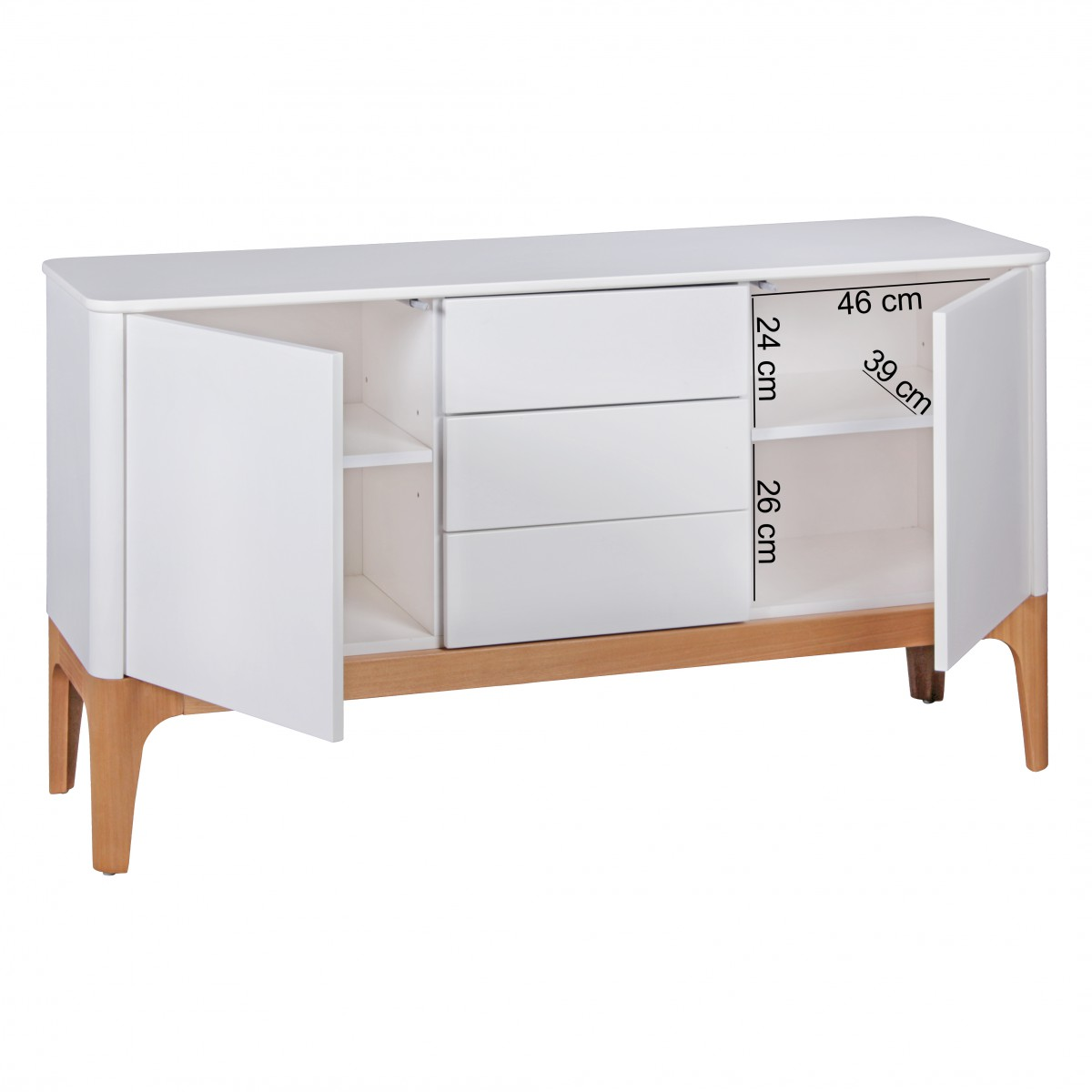 finebuy kommode wei esche mdf retro sideboard 150 cm mit. Black Bedroom Furniture Sets. Home Design Ideas