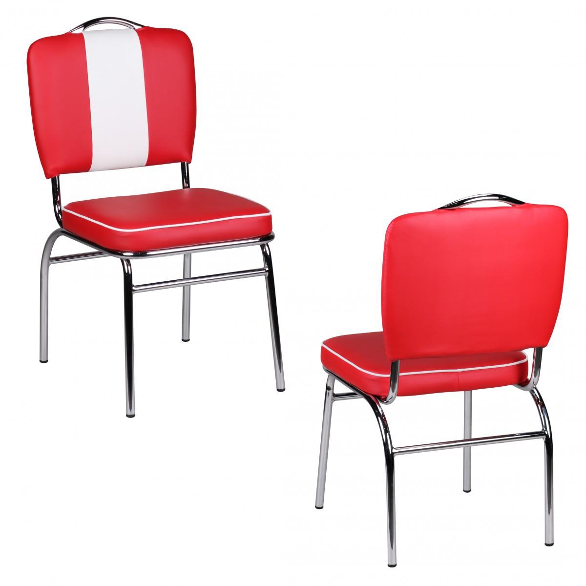2er Set Esszimmerstühle American Diner Stühle 50er Jahre Retro Möbel Bistro
