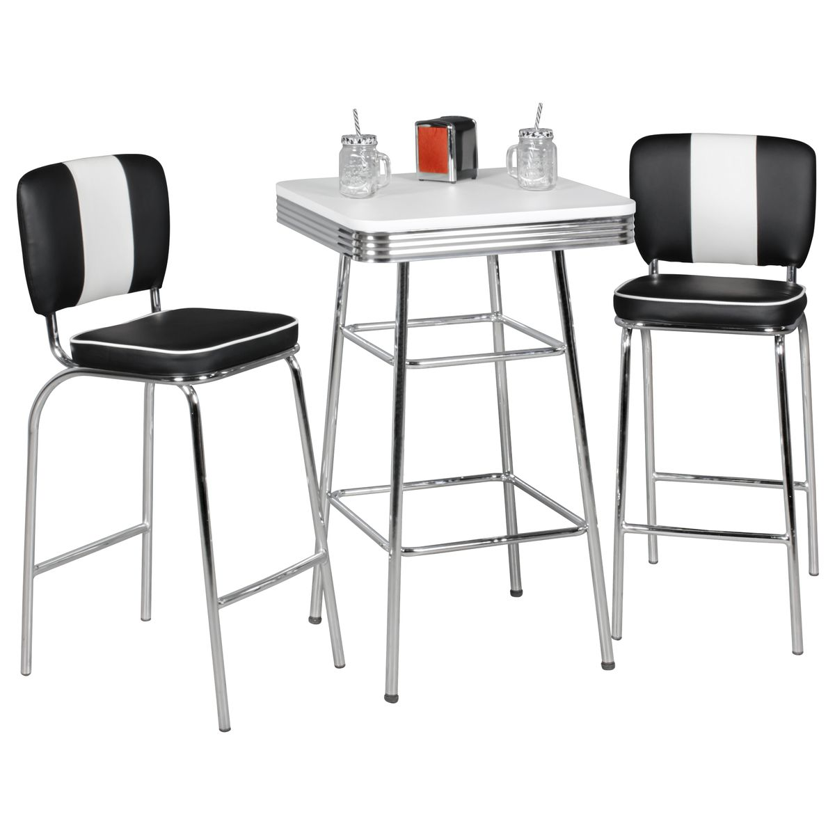 american diner bartisch wei stehtisch bistrotisch rund eckig usa retro tisch ebay. Black Bedroom Furniture Sets. Home Design Ideas