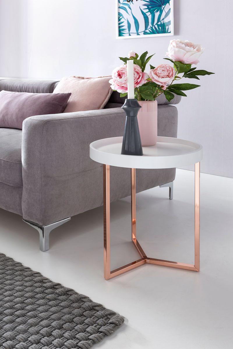 Wohnling design beistelltisch wei kupfer 40 cm for Wohnzimmertisch kupfer