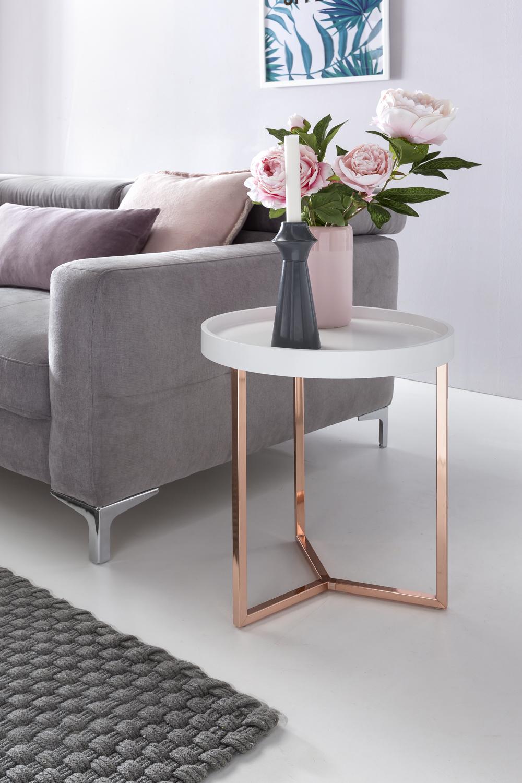 WOHNLING Beistelltisch 40cm Weiß Kupfer Tabletttisch Couchtisch Wohnzimmer  Tisch