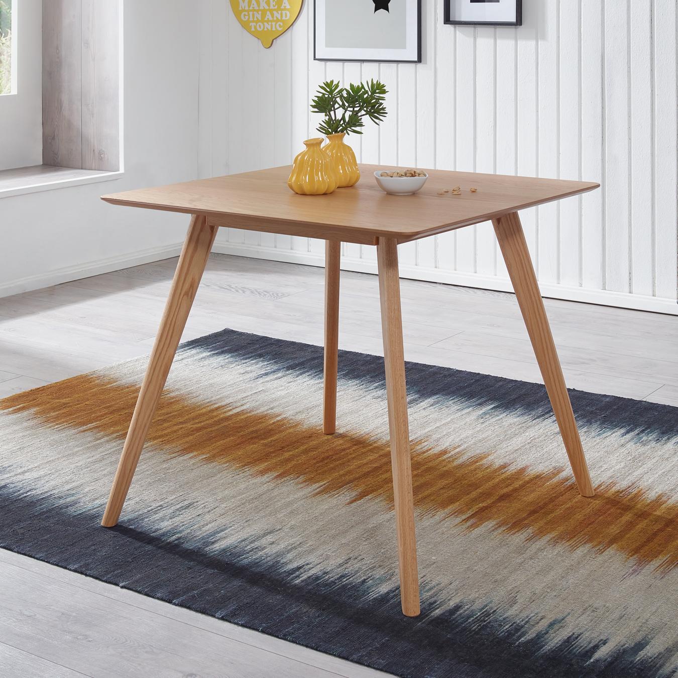 Finebuy Esszimmertisch 80 X 76 X 80 Cm Mdf Holz Eiche Esstisch Skandinavisches Design Kuchentisch Retro