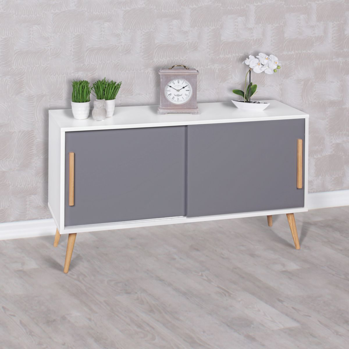 sideboard mit schiebet ren 120 cm skandinavisch design kommode aktenschrank wei ebay. Black Bedroom Furniture Sets. Home Design Ideas