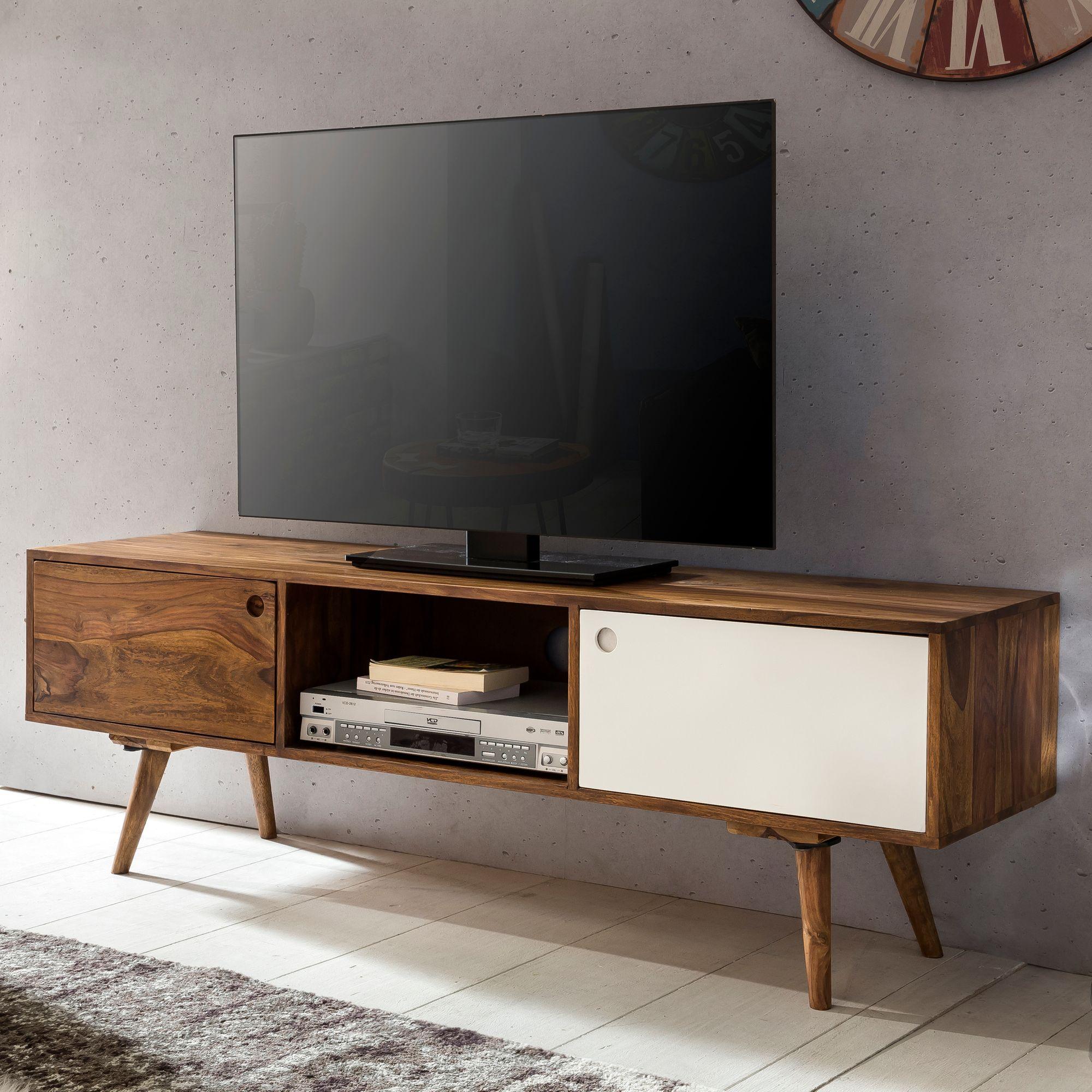Anspruchsvoll Tv Board Weiß Holz Foto Von Finebuy Lowboard 140 Cm Massiv-holz Sheesham 2