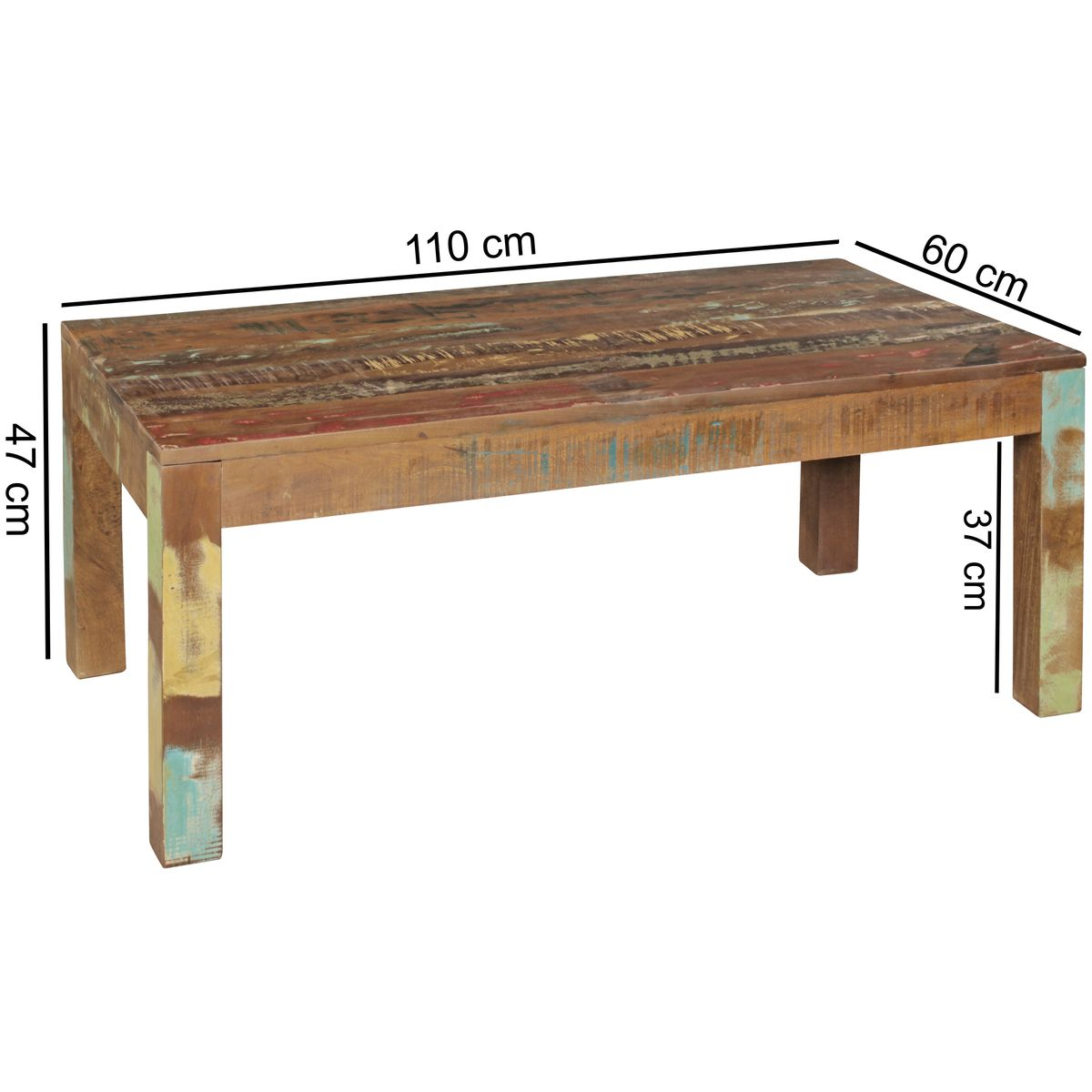 Coffee table 110 x 60 side table shabby chic couch table for Coffee table 60 x 60