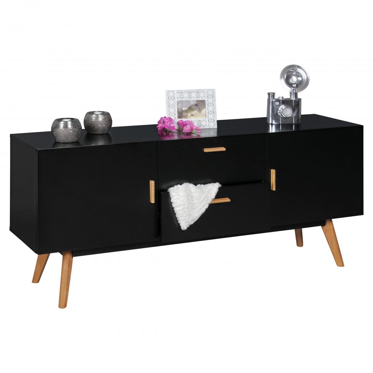 wohnling retro sideboard scanio mdf holz schwarz 2. Black Bedroom Furniture Sets. Home Design Ideas