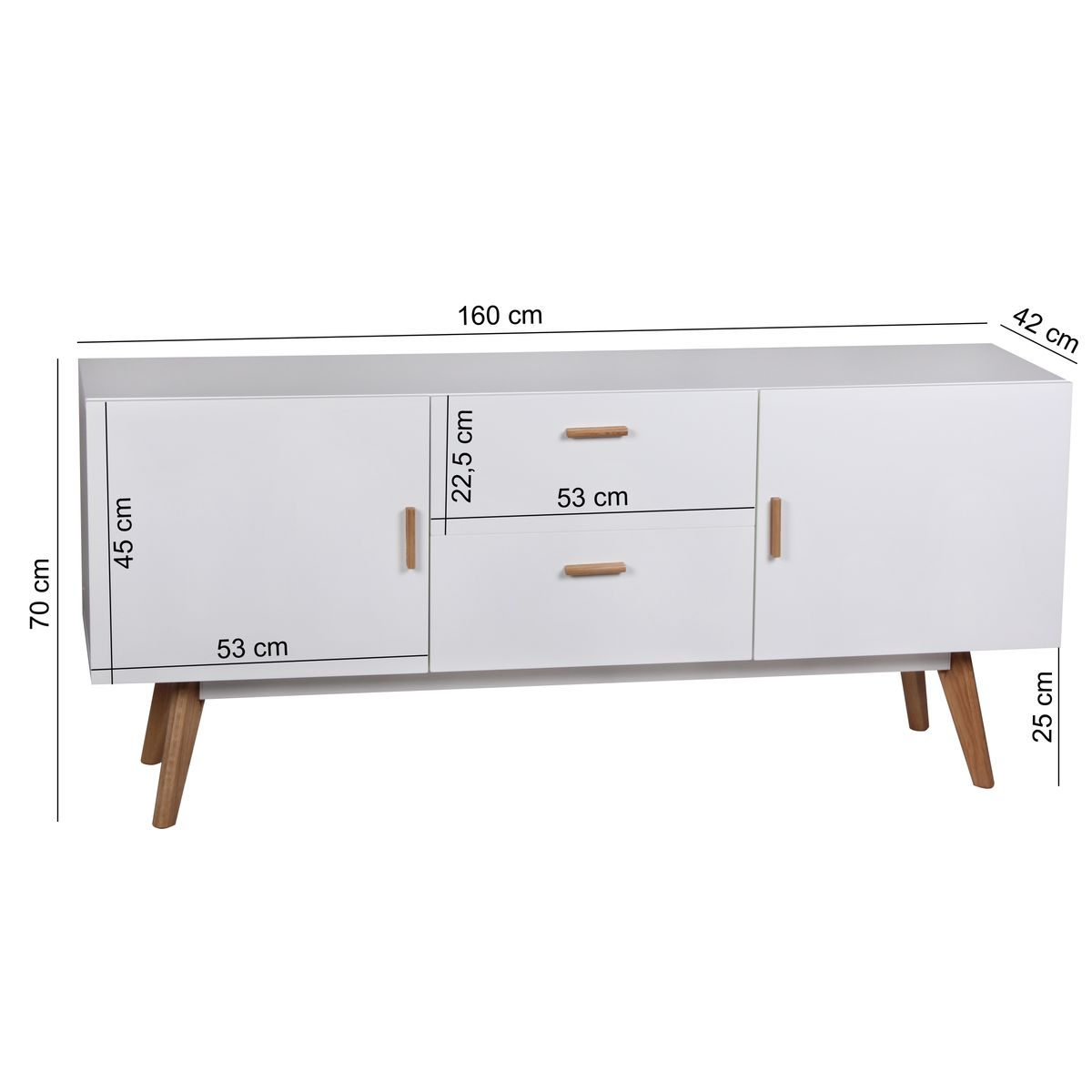 finebuy retro sideboard scanio mdf holz 2 schubladen. Black Bedroom Furniture Sets. Home Design Ideas