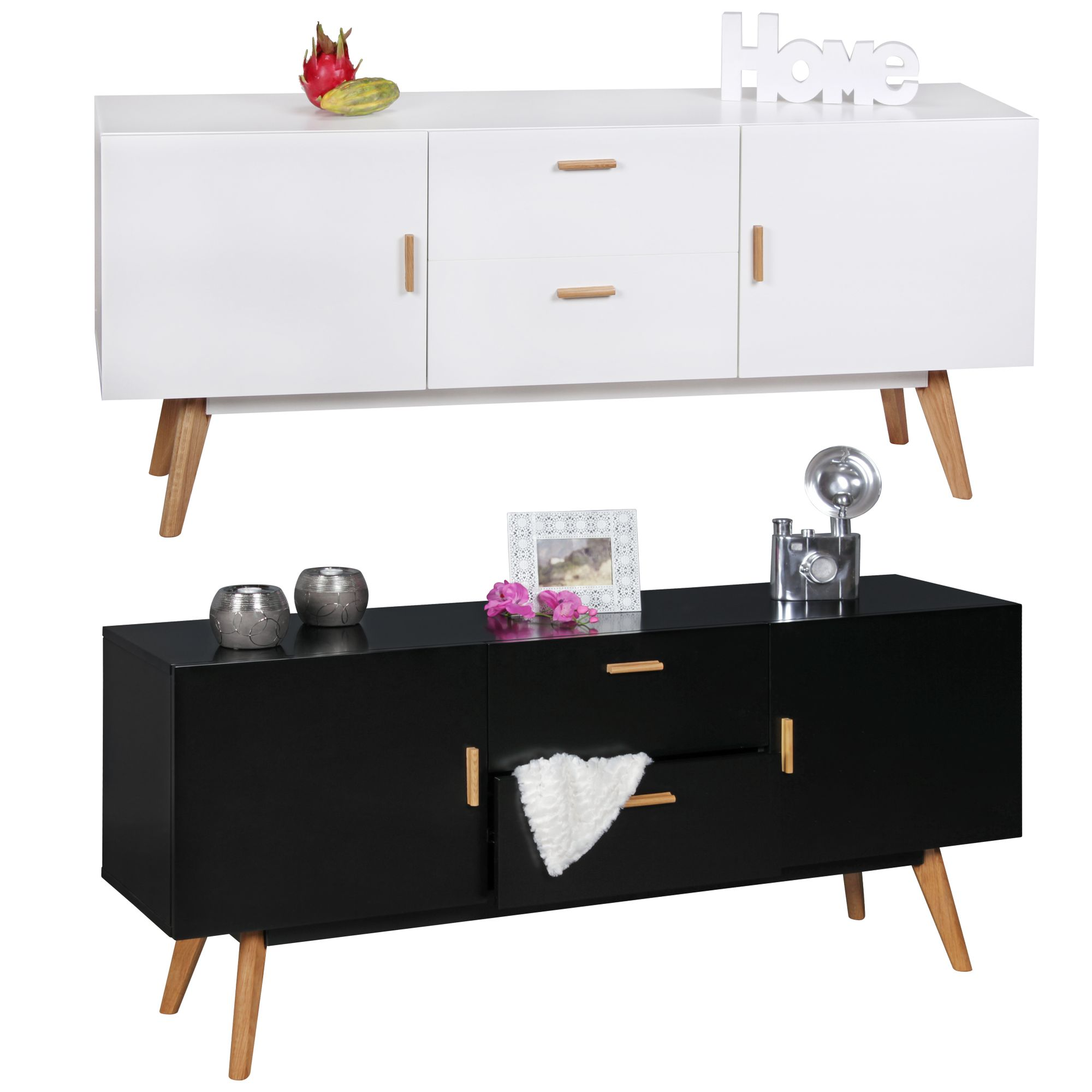 Retro Sideboard Scanio Holz Turen Schubladen Highboard Kommode