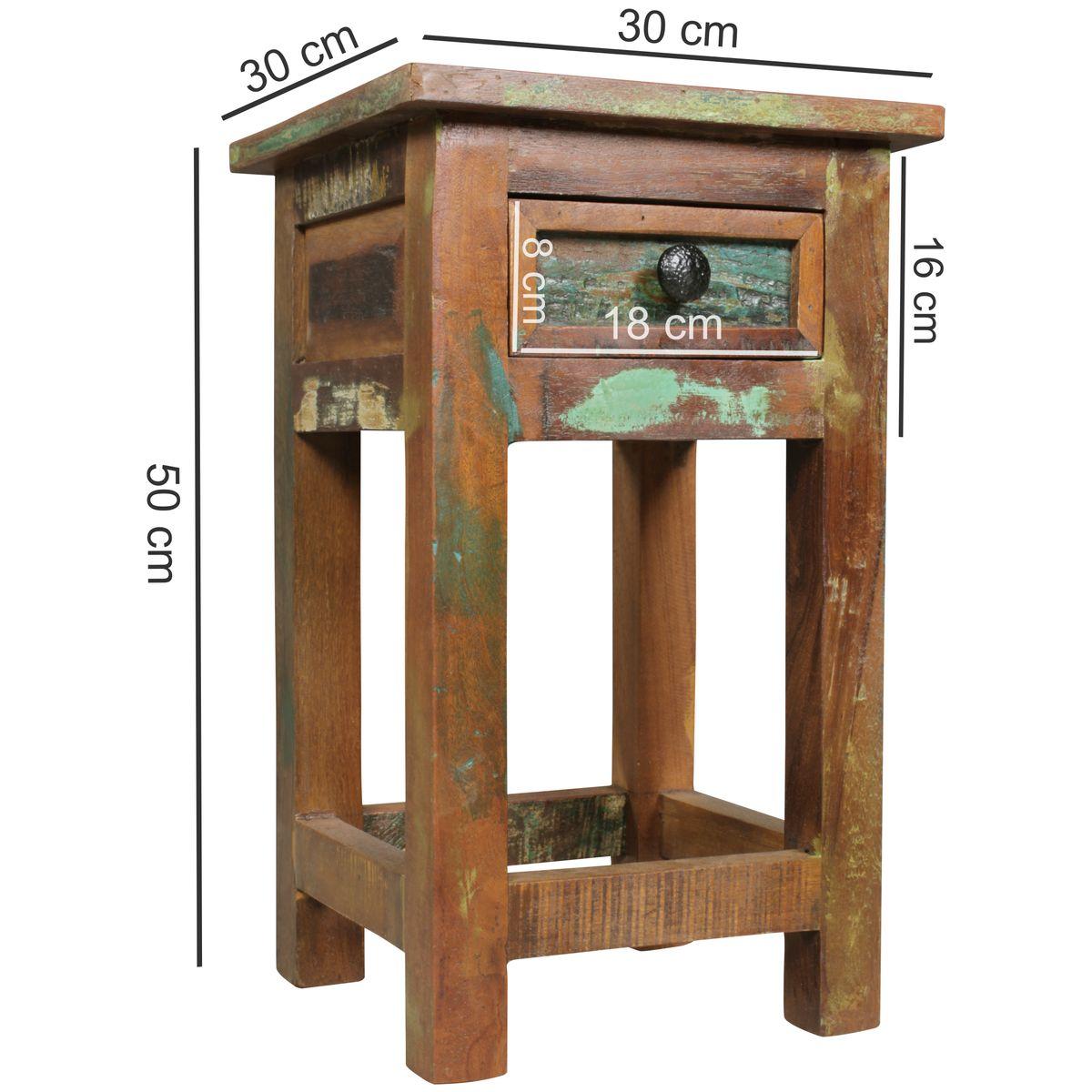 Finebuy beistelltisch delhi 30 x 30 x 50 cm massiv holz - Nachttisch 30 cm ...