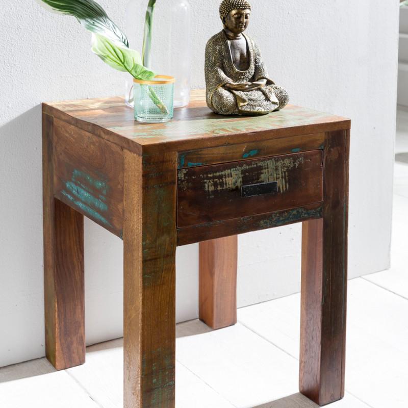 finebuy nachttisch delhi 40 x 40 x 55cm shabby chic recycling mango massiv holz beistelltisch. Black Bedroom Furniture Sets. Home Design Ideas
