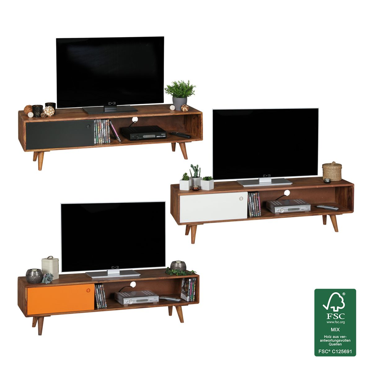 lowboard mit t r tv hifi regal retro fernsehschrank. Black Bedroom Furniture Sets. Home Design Ideas