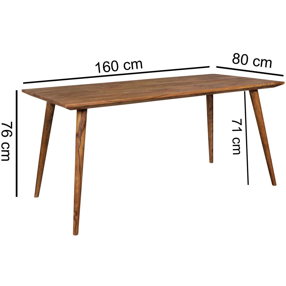 Finebuy esstisch 160 x 80cm esszimmertisch sheesham massiv for Esszimmertisch 80 cm breit