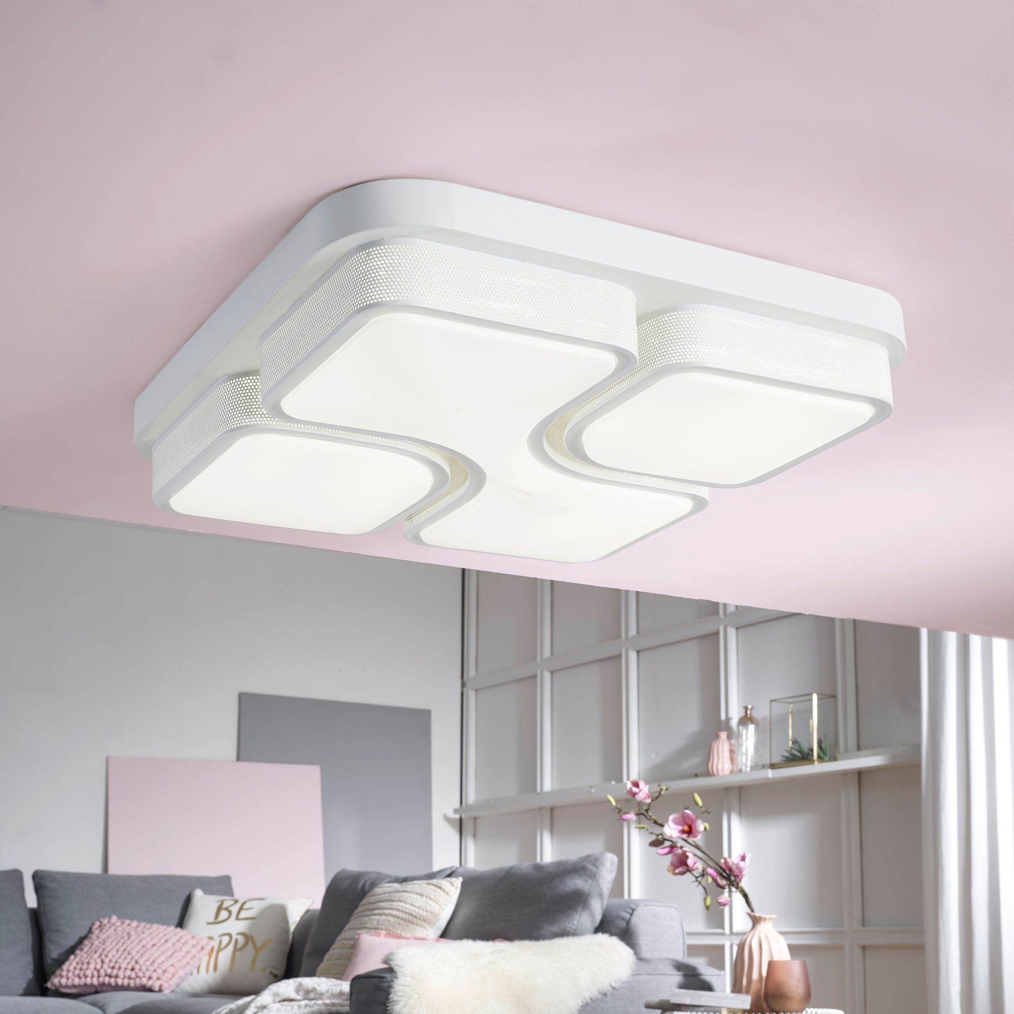 WOHNLING Design LED-Deckenleuchte GEOMETRIC Deckenlampe weiß 32W A+ ...