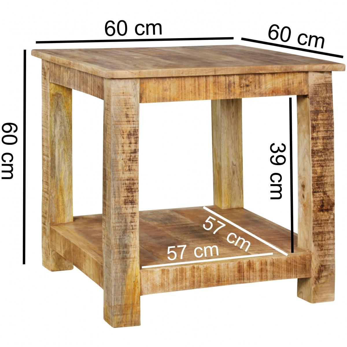 Beistelltisch rusti massivholz couchtisch massiv holz for Wohnzimmertisch 60 cm