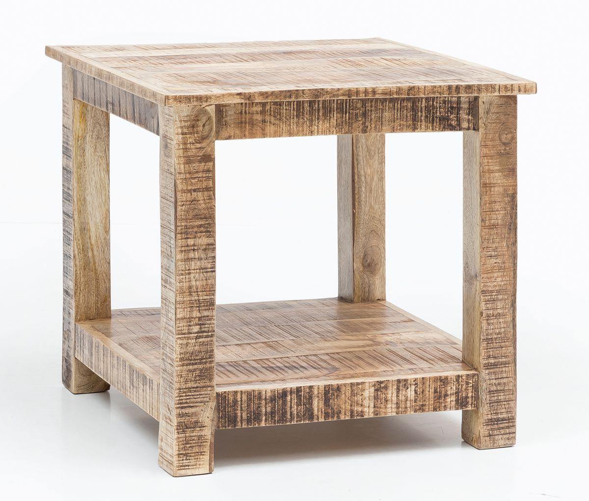 Finebuy couchtisch rusti massiv holz 60 x 60 x 60 cm for Kleiner tisch quadratisch