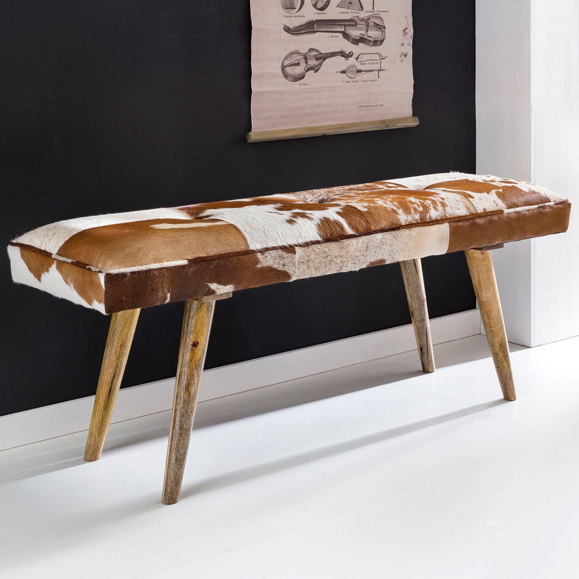 Holzbank industrie design  FineBuy Sitzbank innen aus echtem Ziegenfell Braun Weiß 120 x 40 x ...