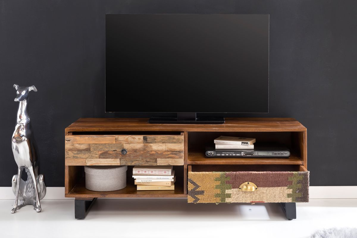 finebuy tv lowboard kanpur 120 x 47 x 40 cm massiv holz hifi regal mango natur landhaus stil. Black Bedroom Furniture Sets. Home Design Ideas