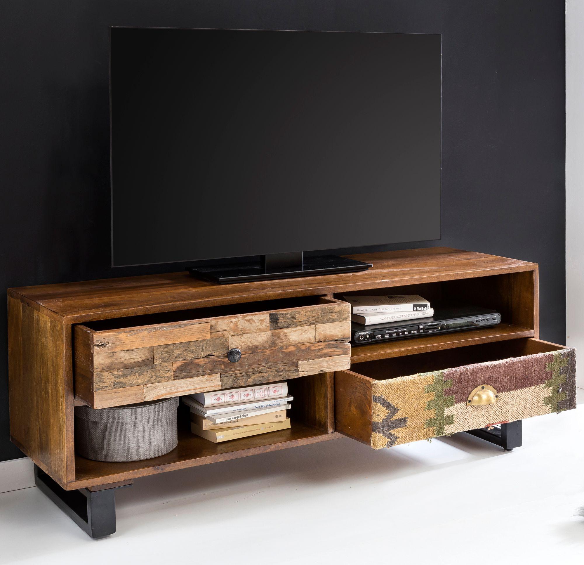 Fine Tv Lowboard Kanpur 120 Cm Schubladen Hifi Regal Fernseher Kommode Holz