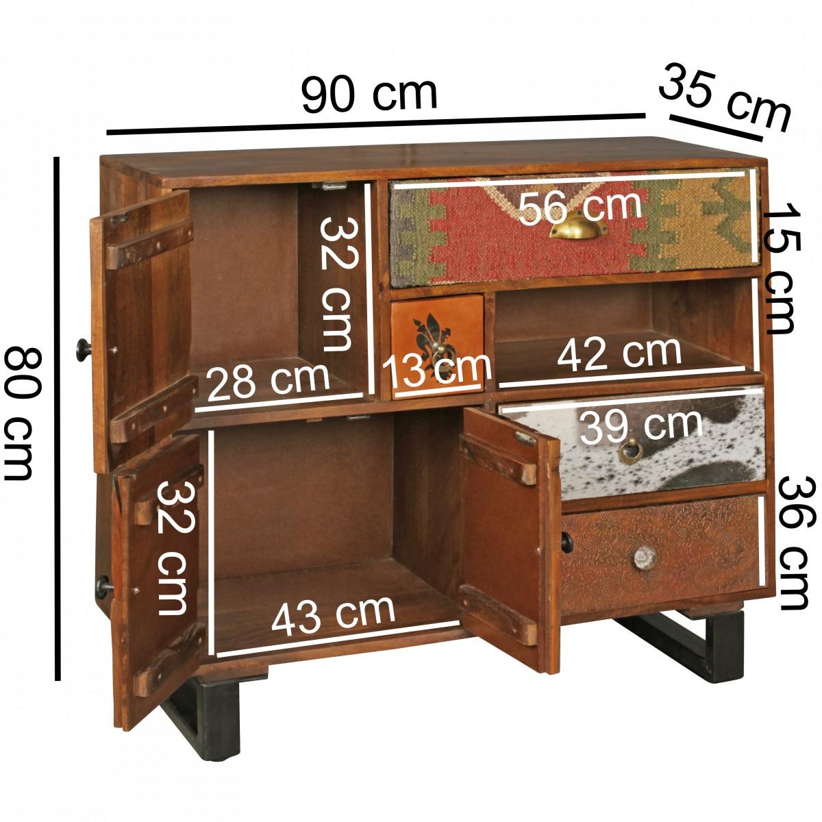 finebuy schrank kanpur 90 x 35 x 80 cm massiv holz highboard mango natur landhaus stil kommode. Black Bedroom Furniture Sets. Home Design Ideas