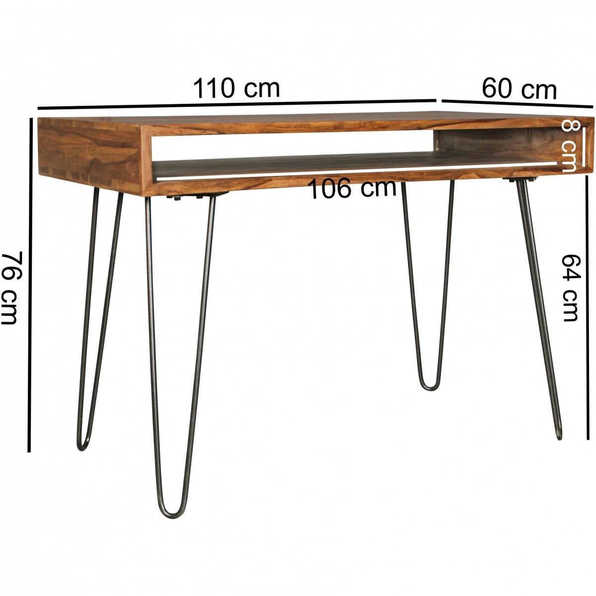 massiver schreibtisch harlem sheesham massiv holz 110 x 60 x 76 cm mit ablage computertisch. Black Bedroom Furniture Sets. Home Design Ideas