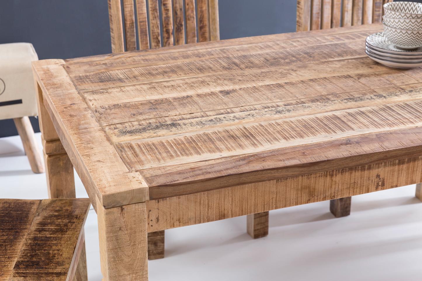 FineBuy Esszimmertisch FB45592 Braun 120 x 76 x 70 cm Mango Massivholz | Design Landhaus Esstisch Massiv | Tisch für Esszimmer rechteckig |