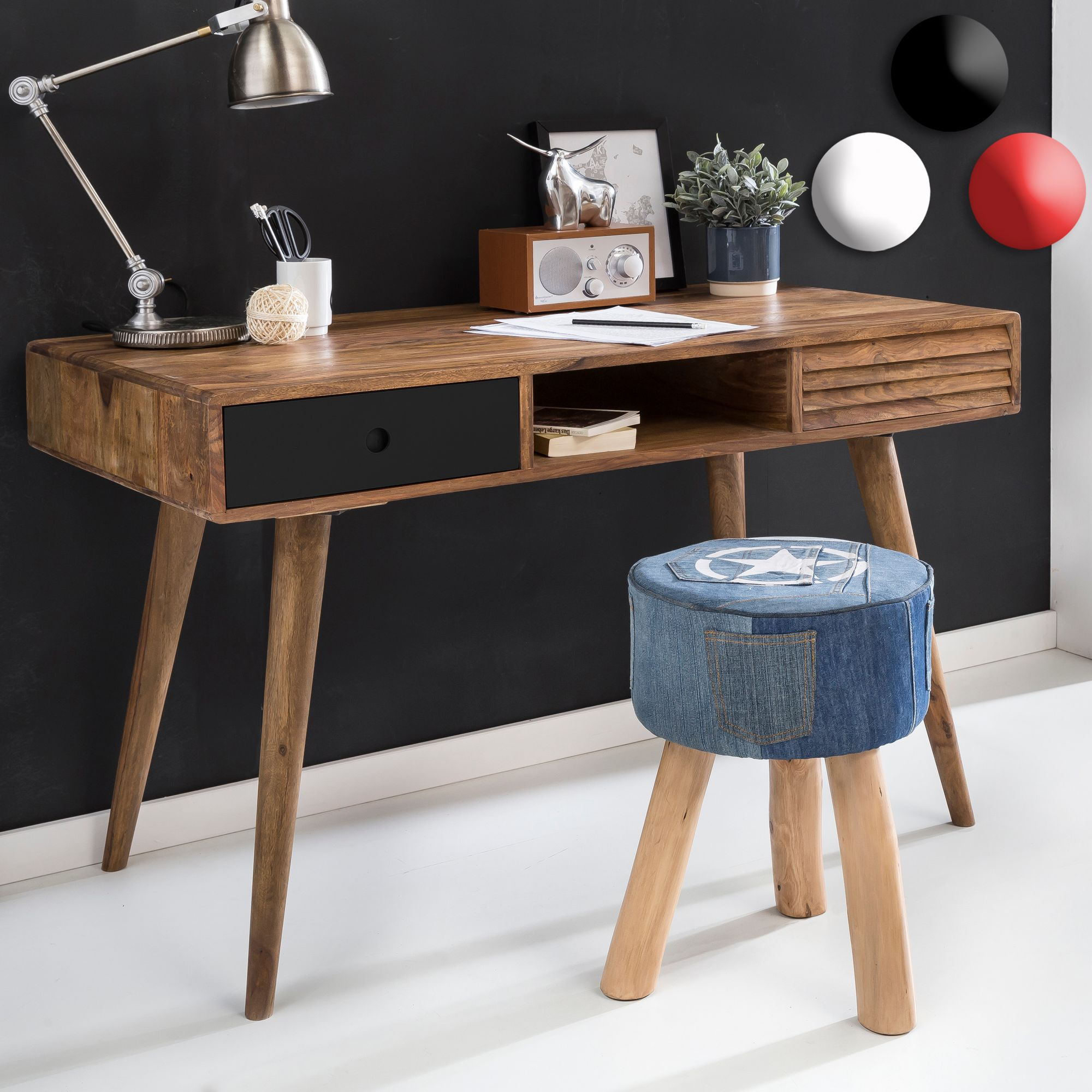 Schreibtisch design holz  Design Retro Schreibtisch Sheesham Holz 2 Schubladen Tisch Holztisch 120cm
