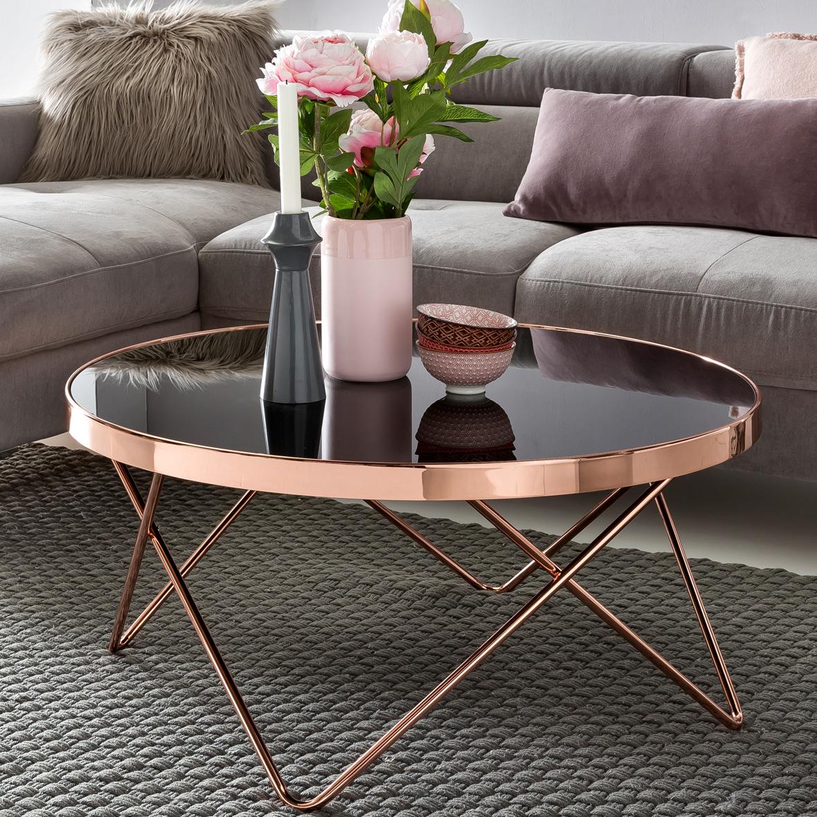 FineBuy Design Couchtisch ROUND ø 82cm Rund Glas Kupfer | Runder Lounge  Tisch Verspiegelt | Moderner