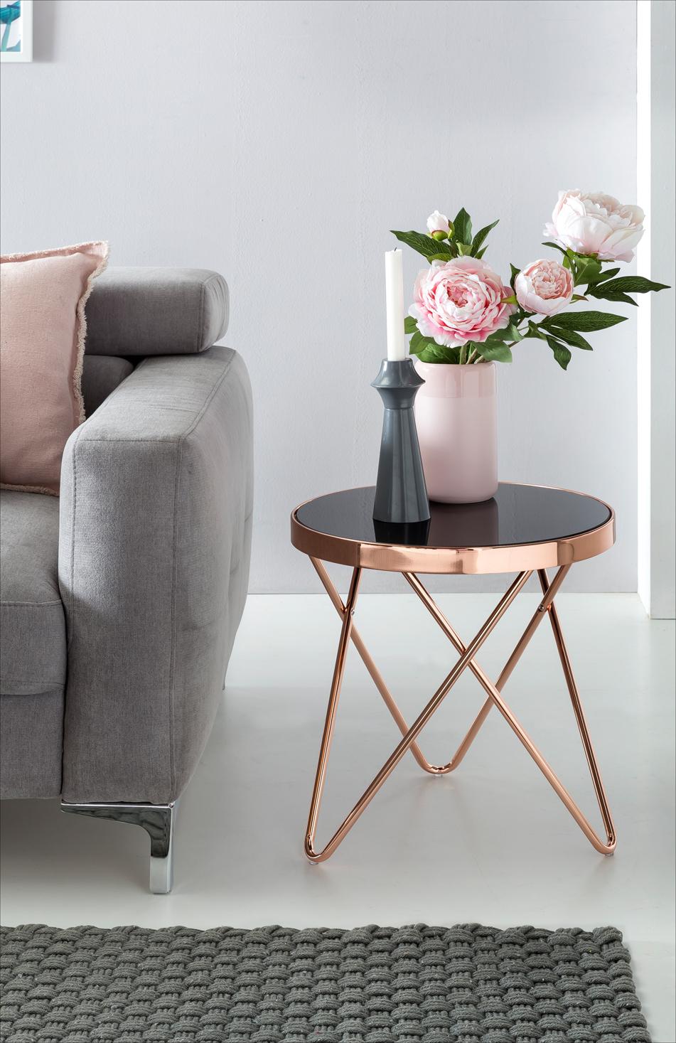 FineBuy Design Couchtisch Round Mini ø 42 cm Rund Glas Kupfer ...