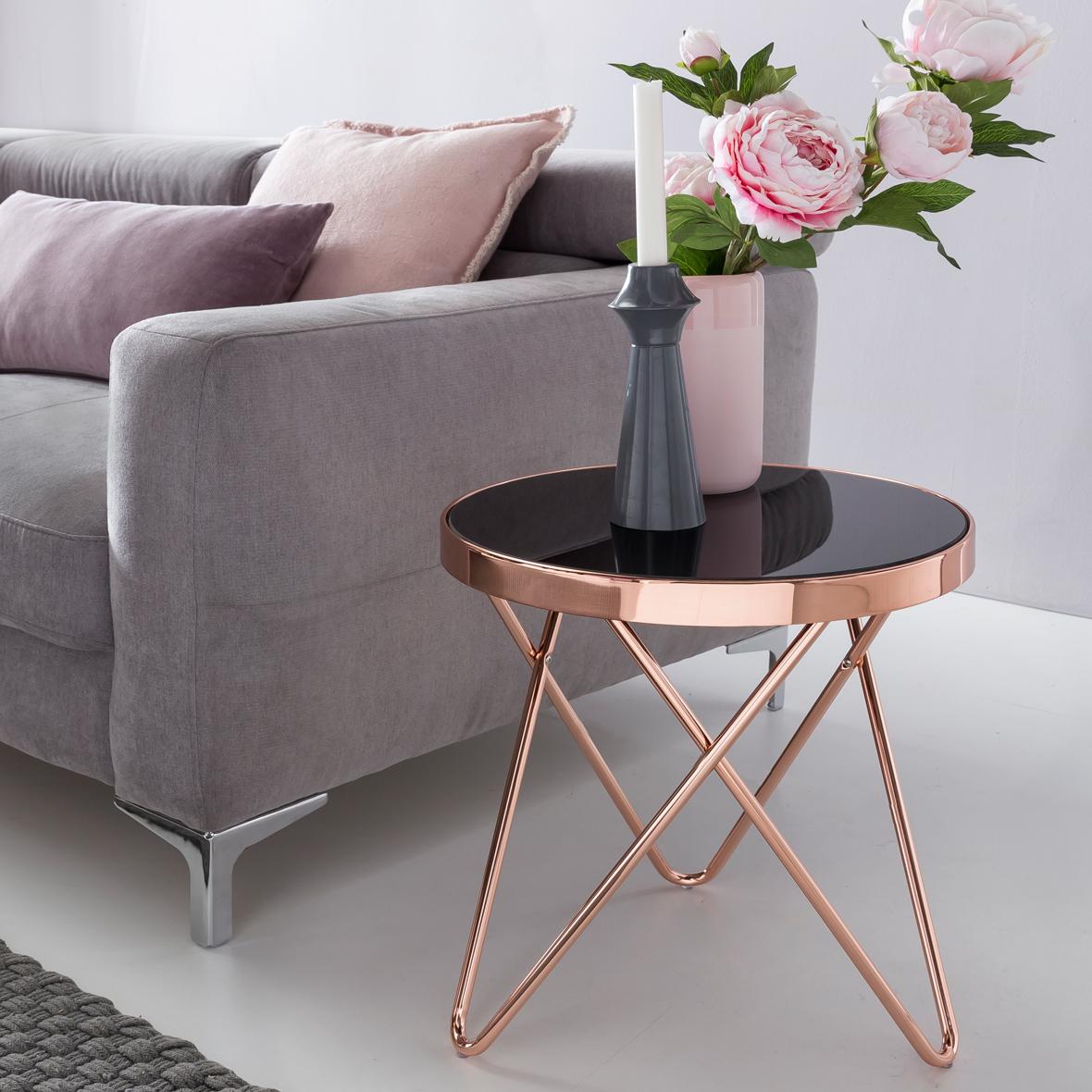 Design Couchtisch ROUND MINI ø 42 cm Rund Glas Kupfer | Lounge ...