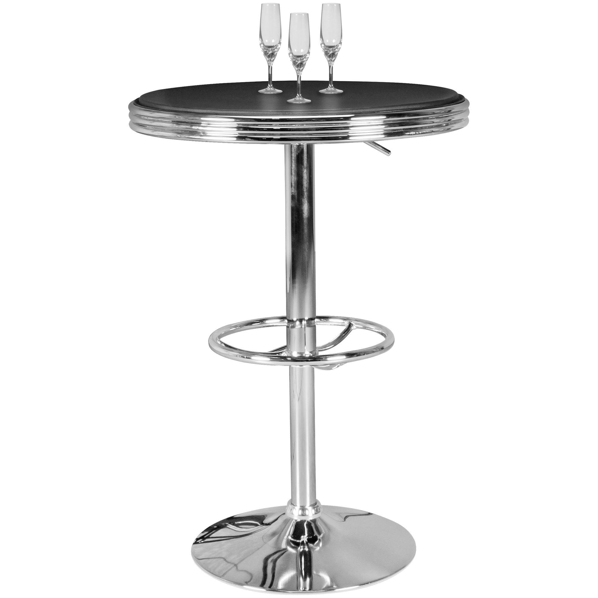 Bartisch Ø 60 cm American Diner Schwarz Alu Design Bistrotisch Stehtisch rund