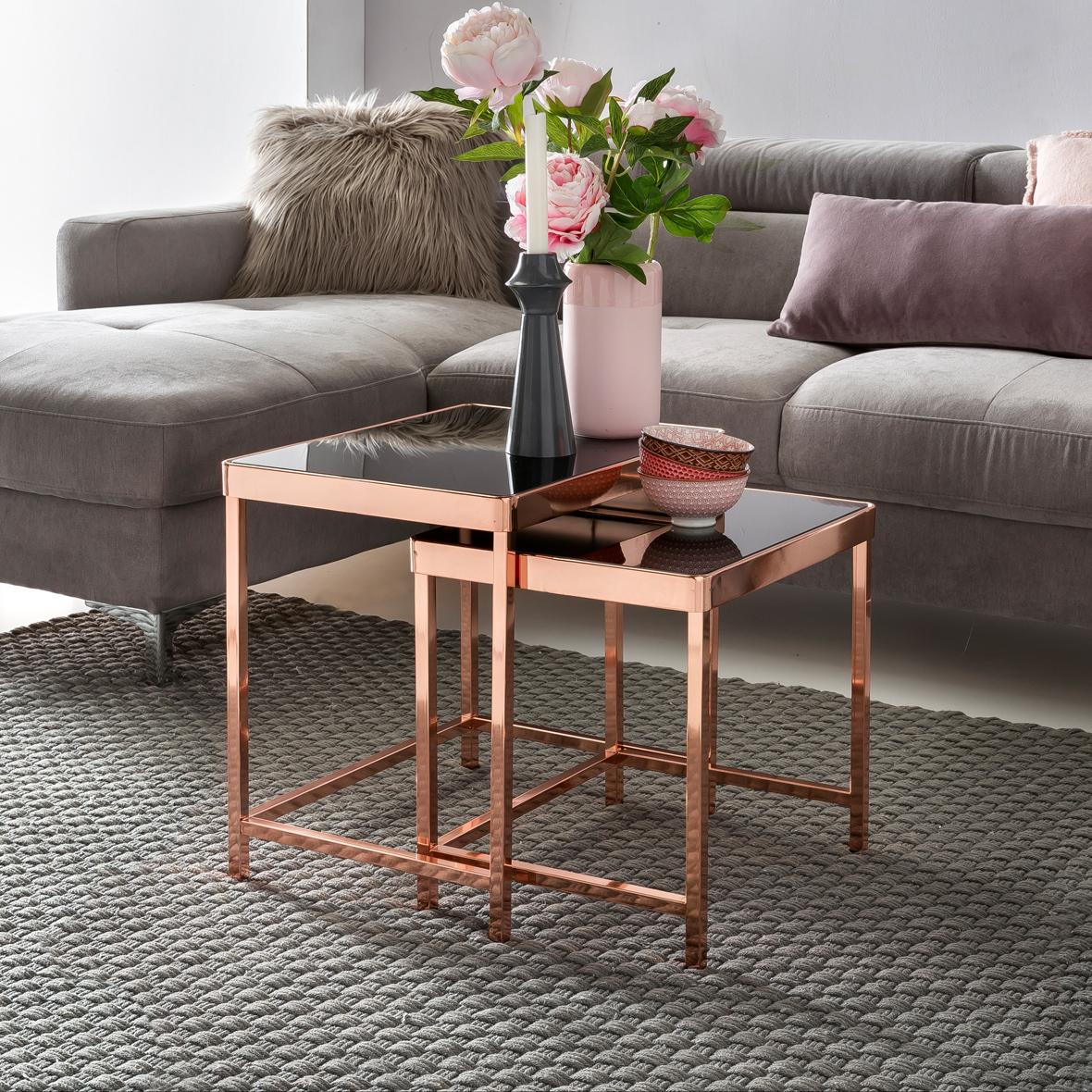 Finebuy Design Couchtisch Patris Glas Kupfer 2er Set Wohnzimmertisch Modern Mit Glasplatte Verspiegelt Beistelltisch Eckig Tisch Wohnzimmer