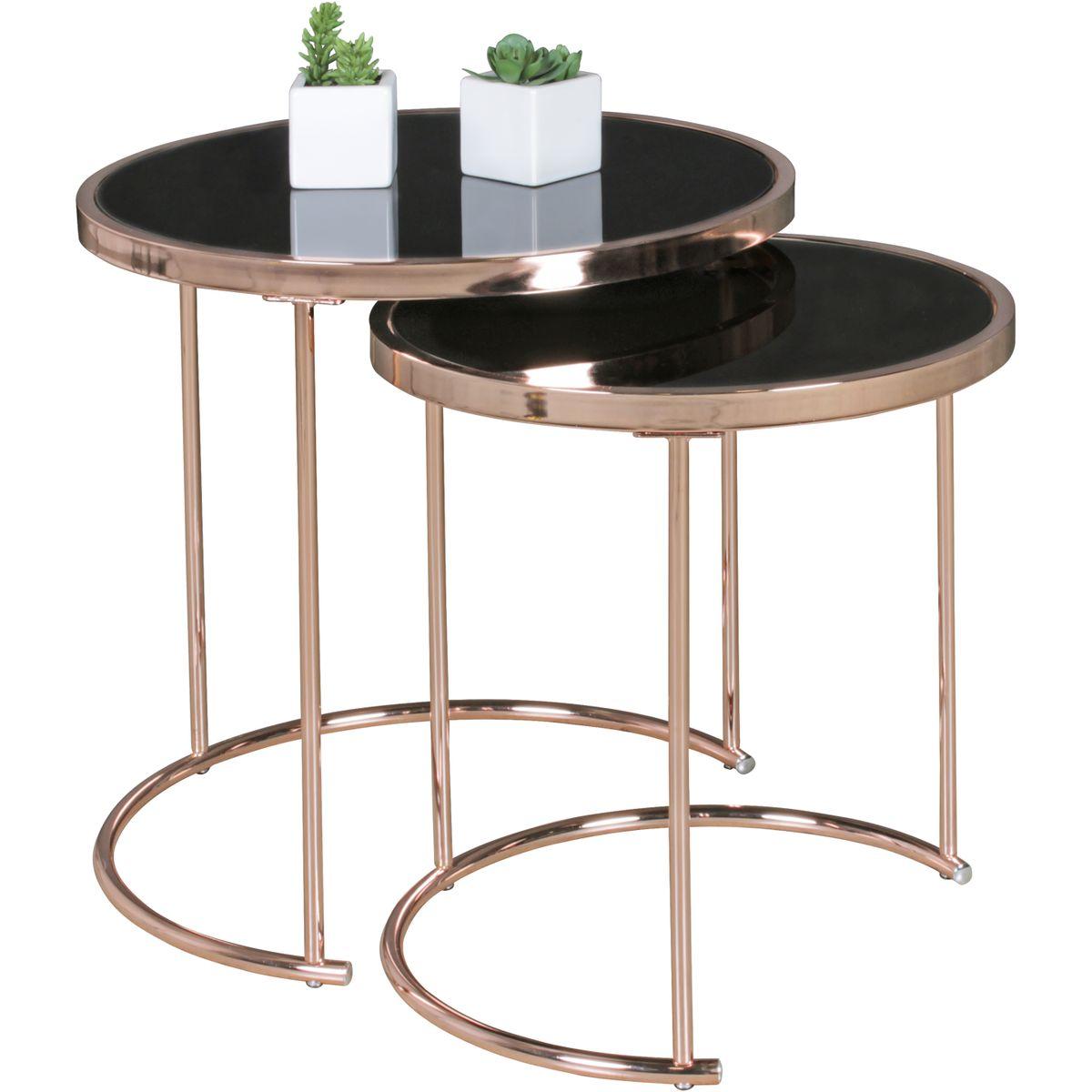 Design couchtisch deco glas kupfer 2er set for Wohnzimmertisch glasplatte