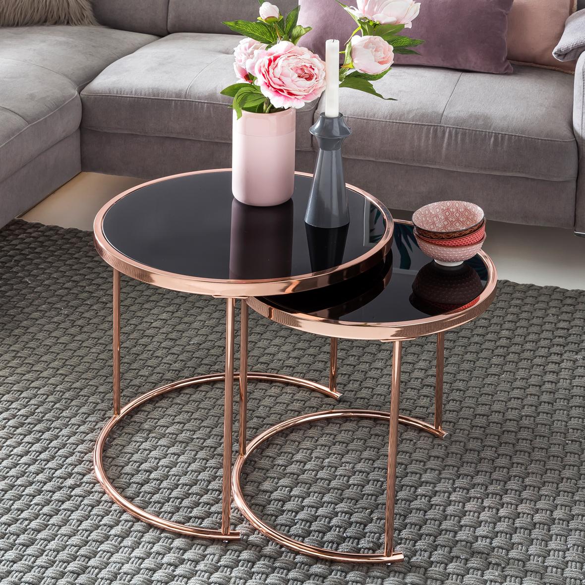 FineBuy Design Couchtisch DECO Glas Kupfer Tisch 8er Set Satztisch Ø 8 &  48 cm  Wohnzimmertisch Glasplatte Schwarz  Beistelltisch Modern