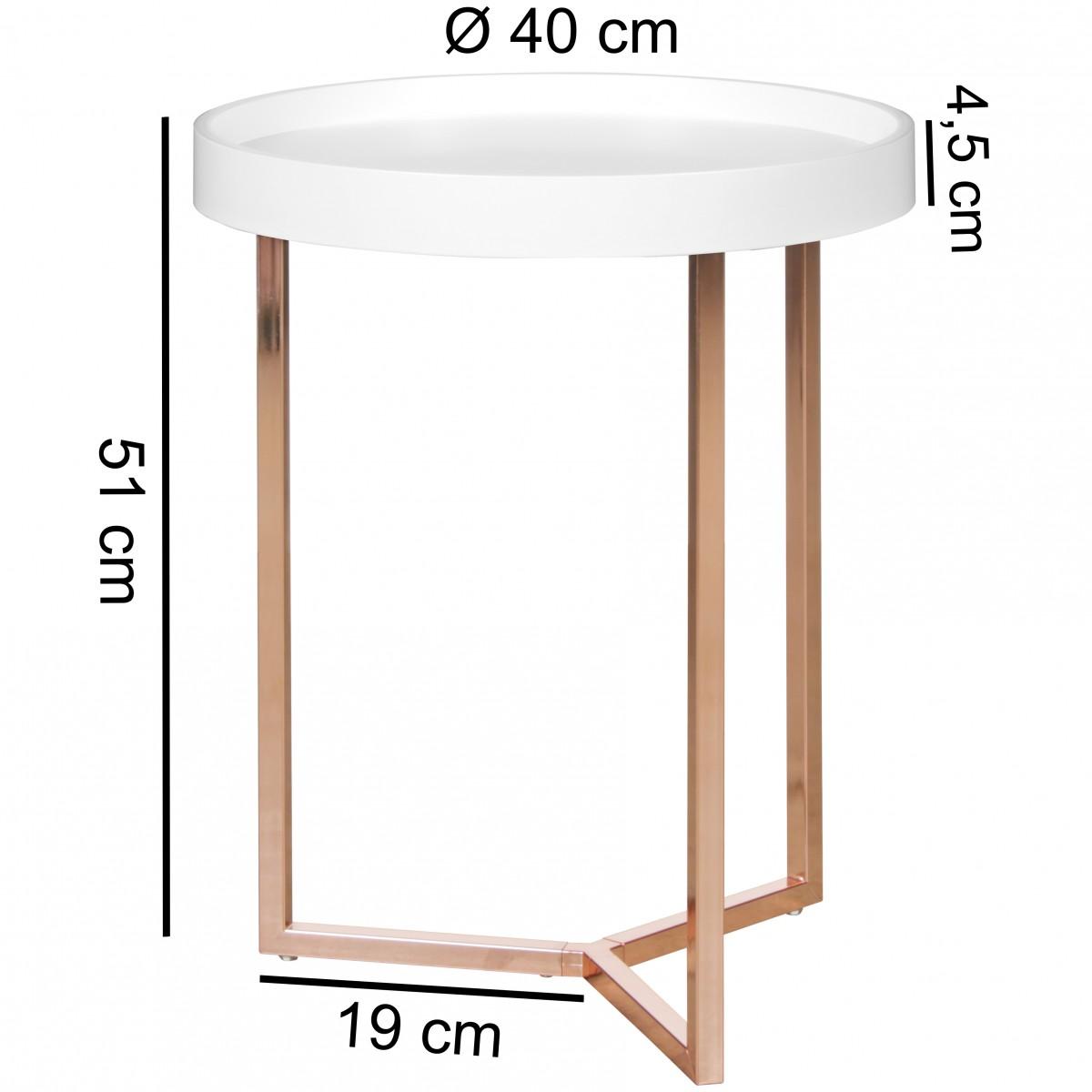 Beistelltisch Give Kupfer 40cm Rund Tablett Couchtisch Tabletttisch