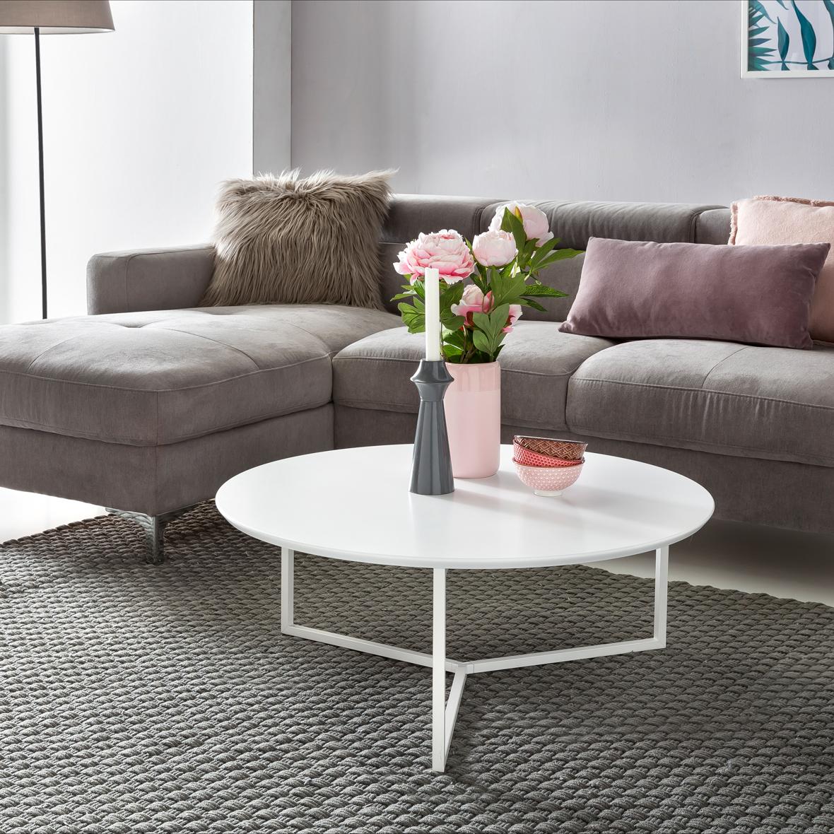 Couchtisch White 80cm Rund Weiß Matt Design Wohnzimmertisch Sofa