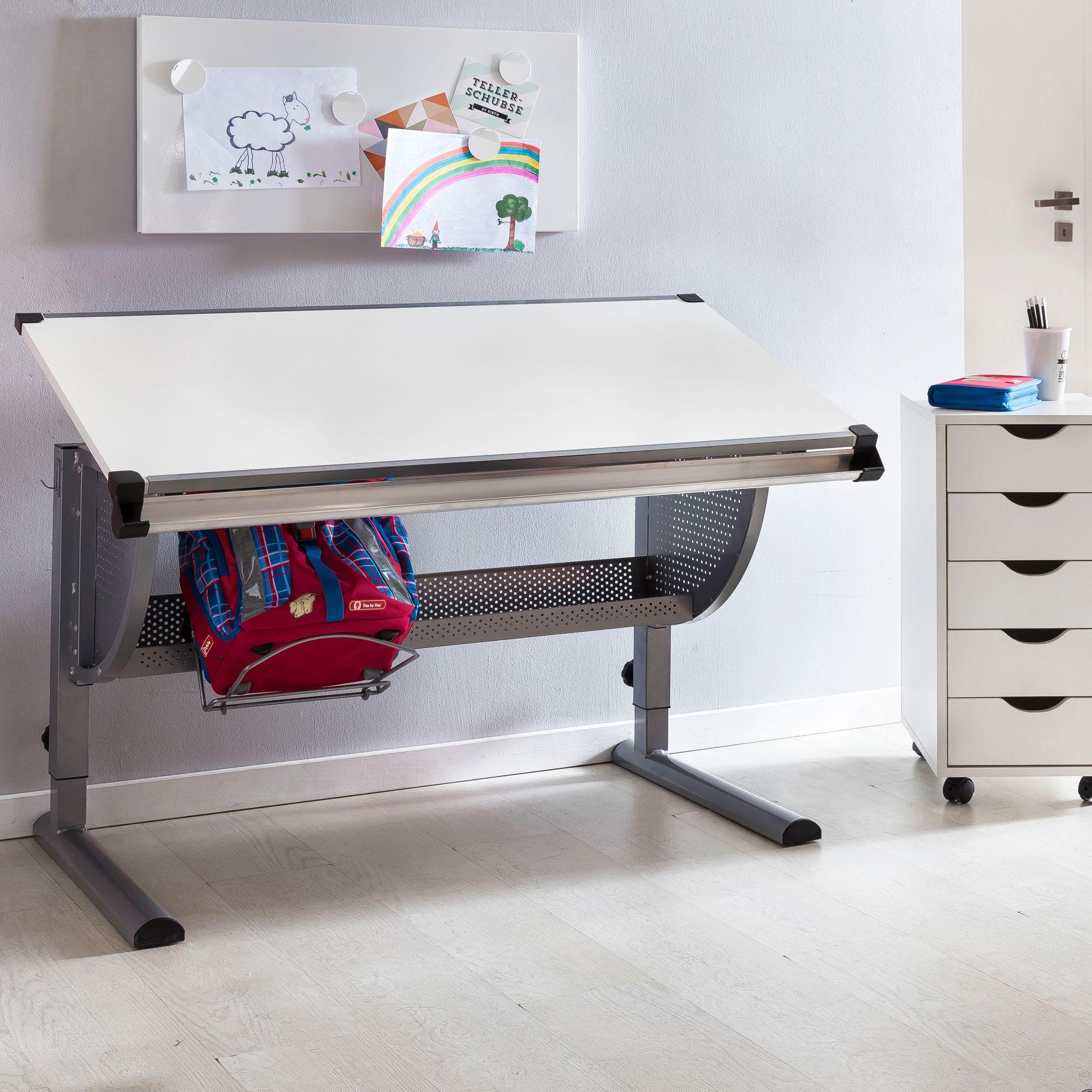 Kinderschreibtisch holz  FineBuy Design Kinderschreibtisch MICHI Holz 120 x 60 cm grau / weiß ...